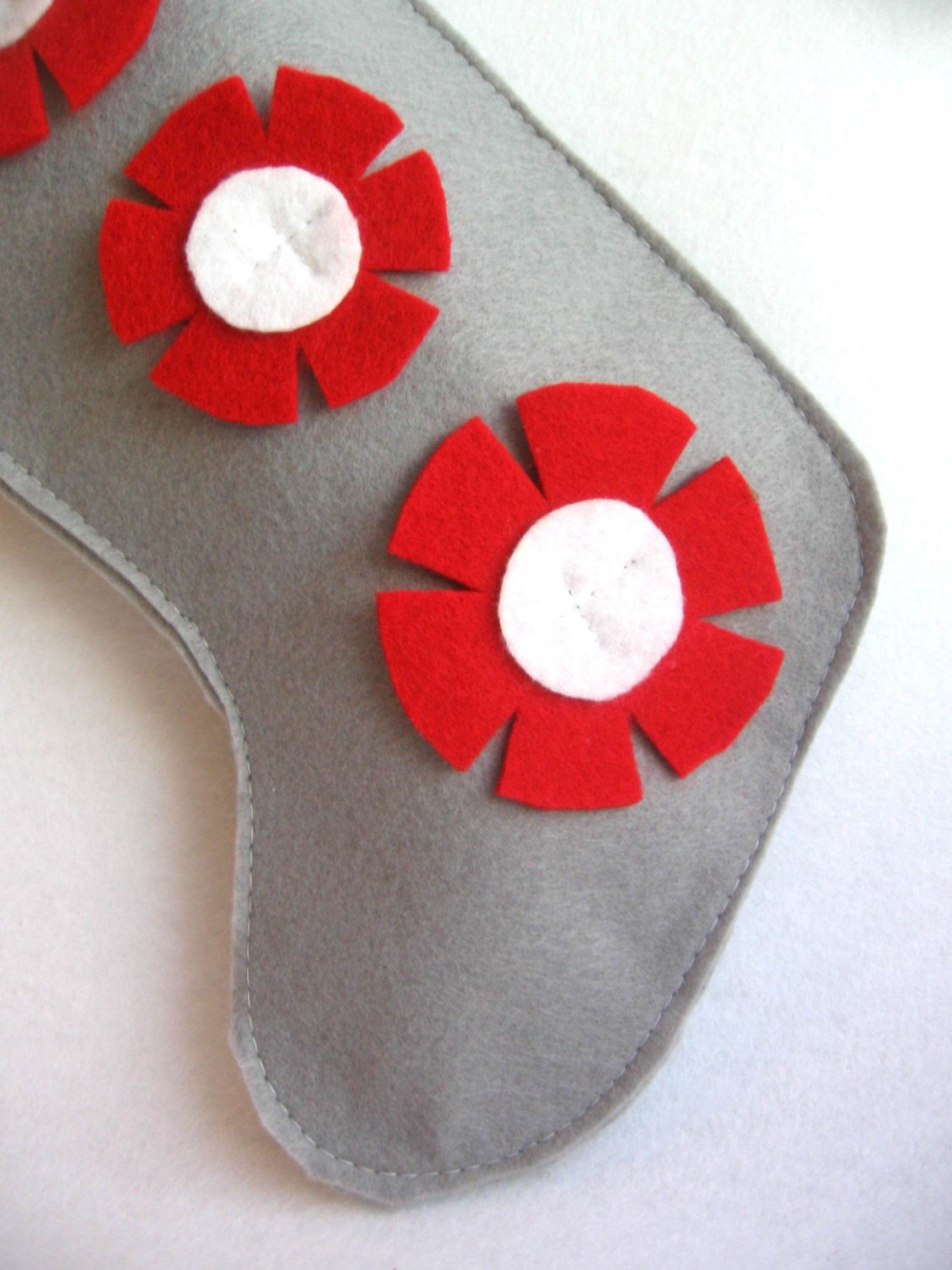 eco deal.. rikrak Christmas...grey / gray, white and red felt stocking