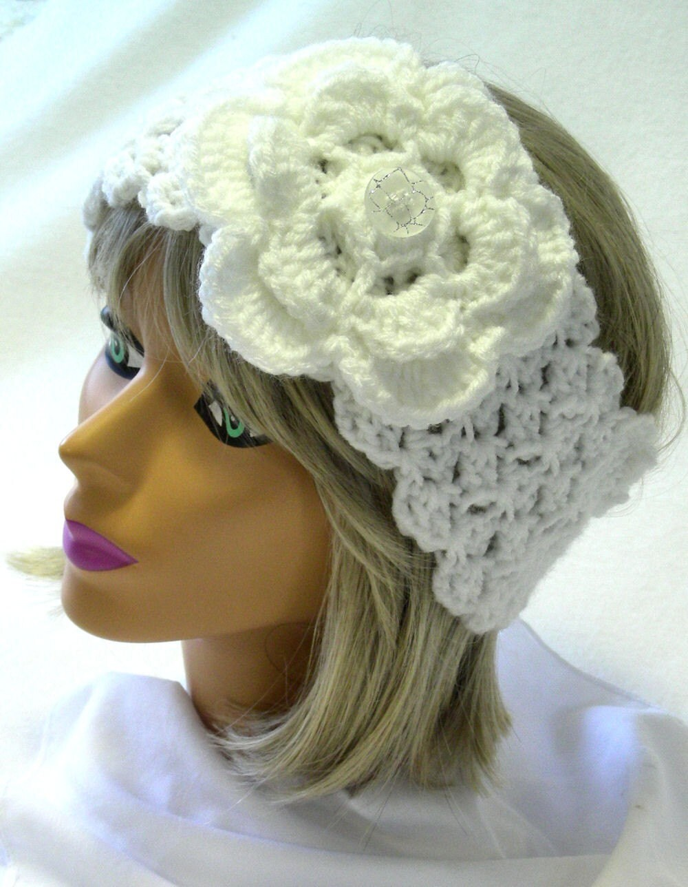 Crochet Head Warmer - Neck Warmer in Snow White