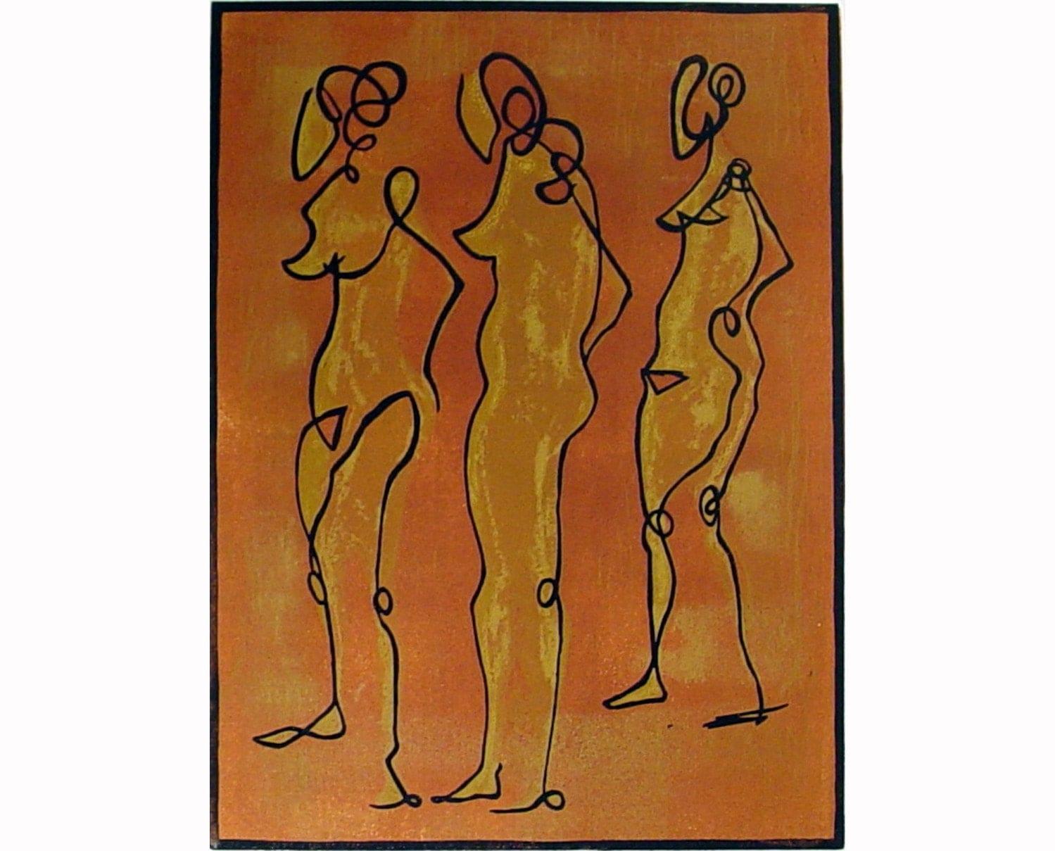 Three Nudes (original linoleum cut)