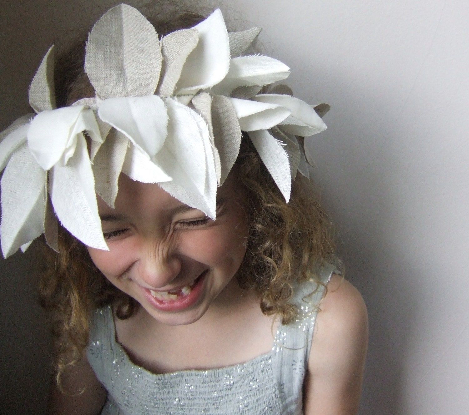 winter whites woodland costume headdress // linen and velveteen - mimiandlu