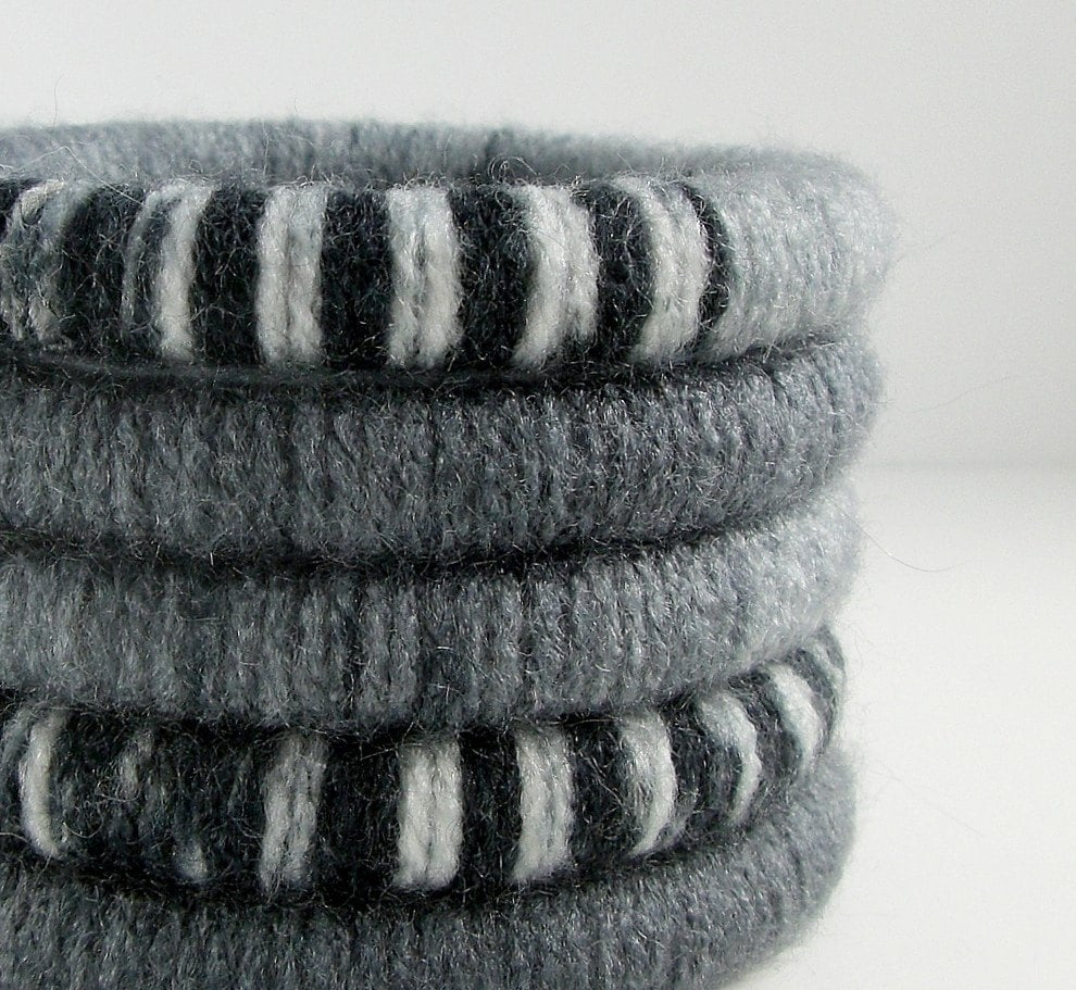 Set of 5 Wool Wrapped Stacking Bangles (1912-1911)   FREE SHIPPING