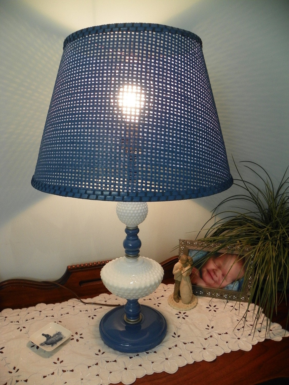 vintage hobnail milk glass table lamp blue wicker beautiful and whimsy. Black Bedroom Furniture Sets. Home Design Ideas