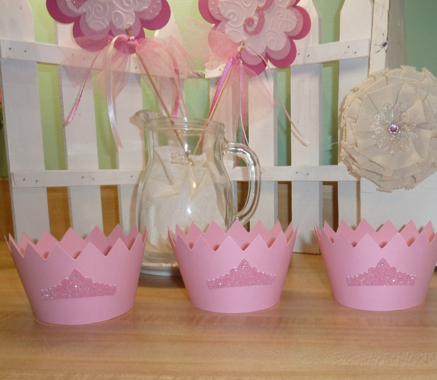 Cupcake Wrappers, Princess Party, Pink Cupcake Decorations