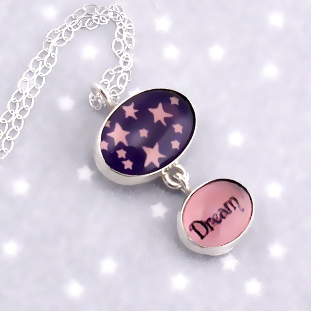 Purple Dream Necklace with Stars in Silver and Glass
