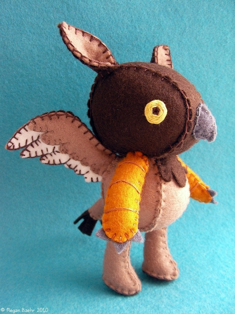 Leander the Griffin - Wool Felt Plush Doll - MADE TO ORDER