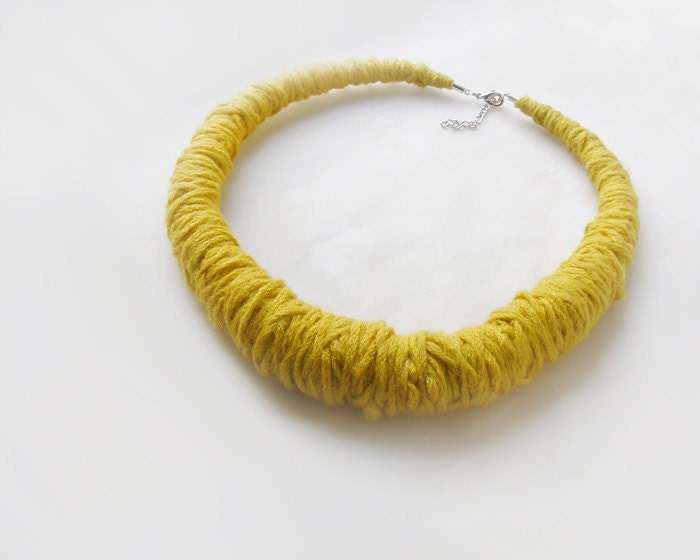 Items similar to yellow mustard wool necklace fabric for Mustard colored costume jewelry
