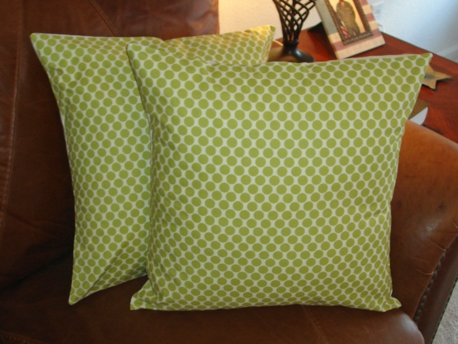 Throw Pillow removable cover 16x16 Set of 2 sewn with Amy Butler's Full Moon Lime