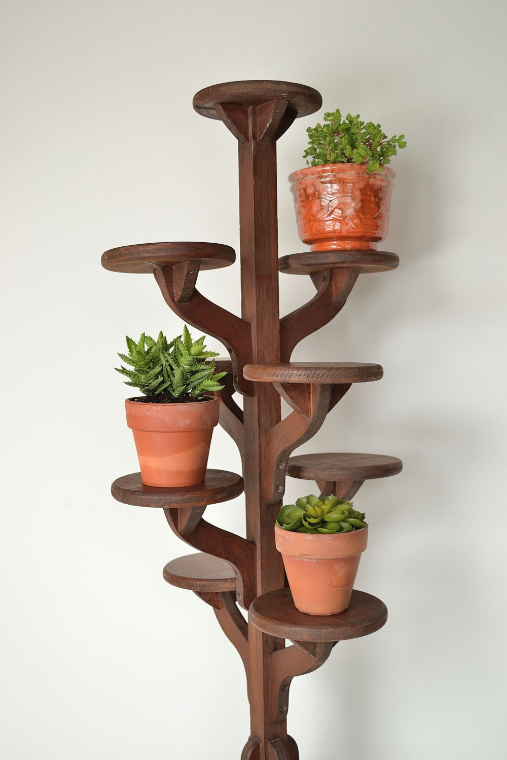Vintage Tall Handmade Wooden Tiered Plant Stand By