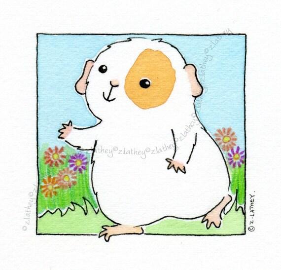 Sunny Day Walking Guinea-pig- Original Watercolor