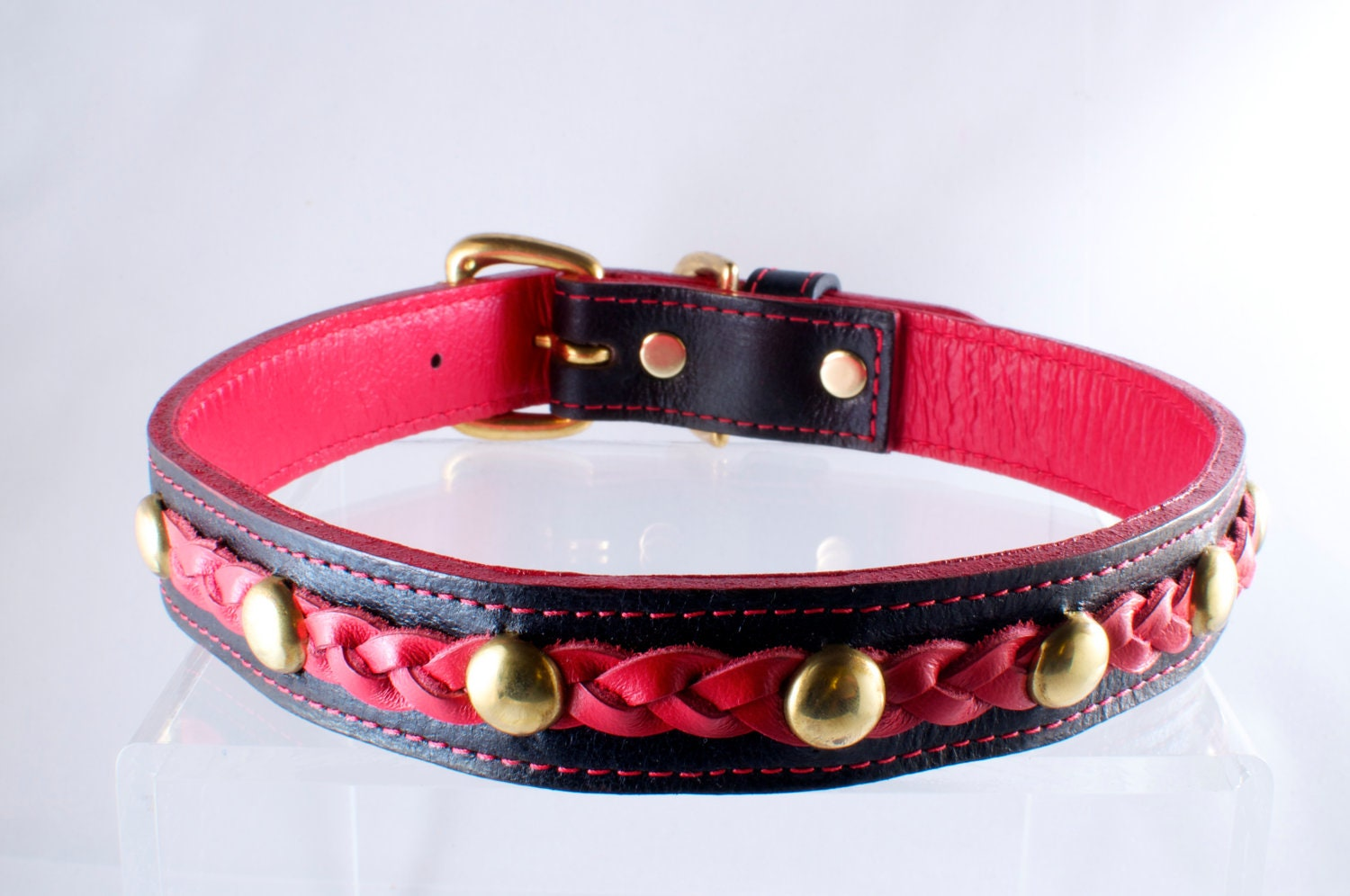 Leather Dog Collar Braided with solid Brass Hardware
