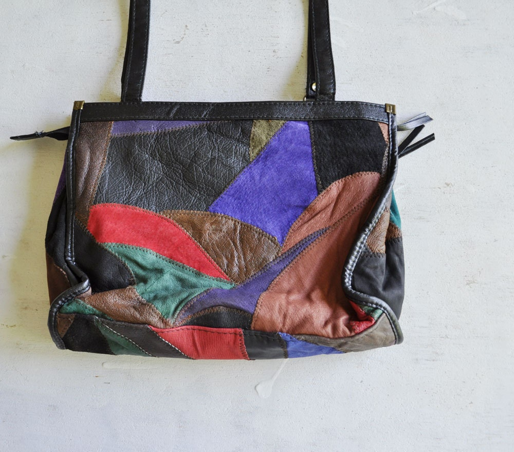 Vintage 80s Saturated Patchwork Leather Bag by MariesVintage from etsy.com