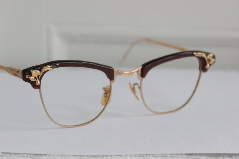Cat Eye 1960's Eyeglasses Brown Browline Gold Leaf by DIAeyewear