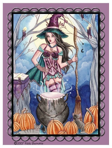 Morissa - Fantasy Witch Magnet - by Nikki Burnette