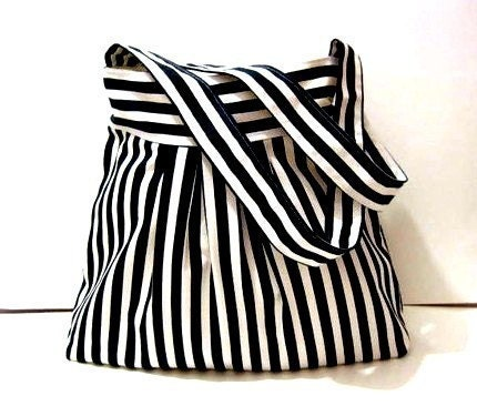 New-Sale-Shoulder Bag-Pleated-Double Straps-Dark Blue and White