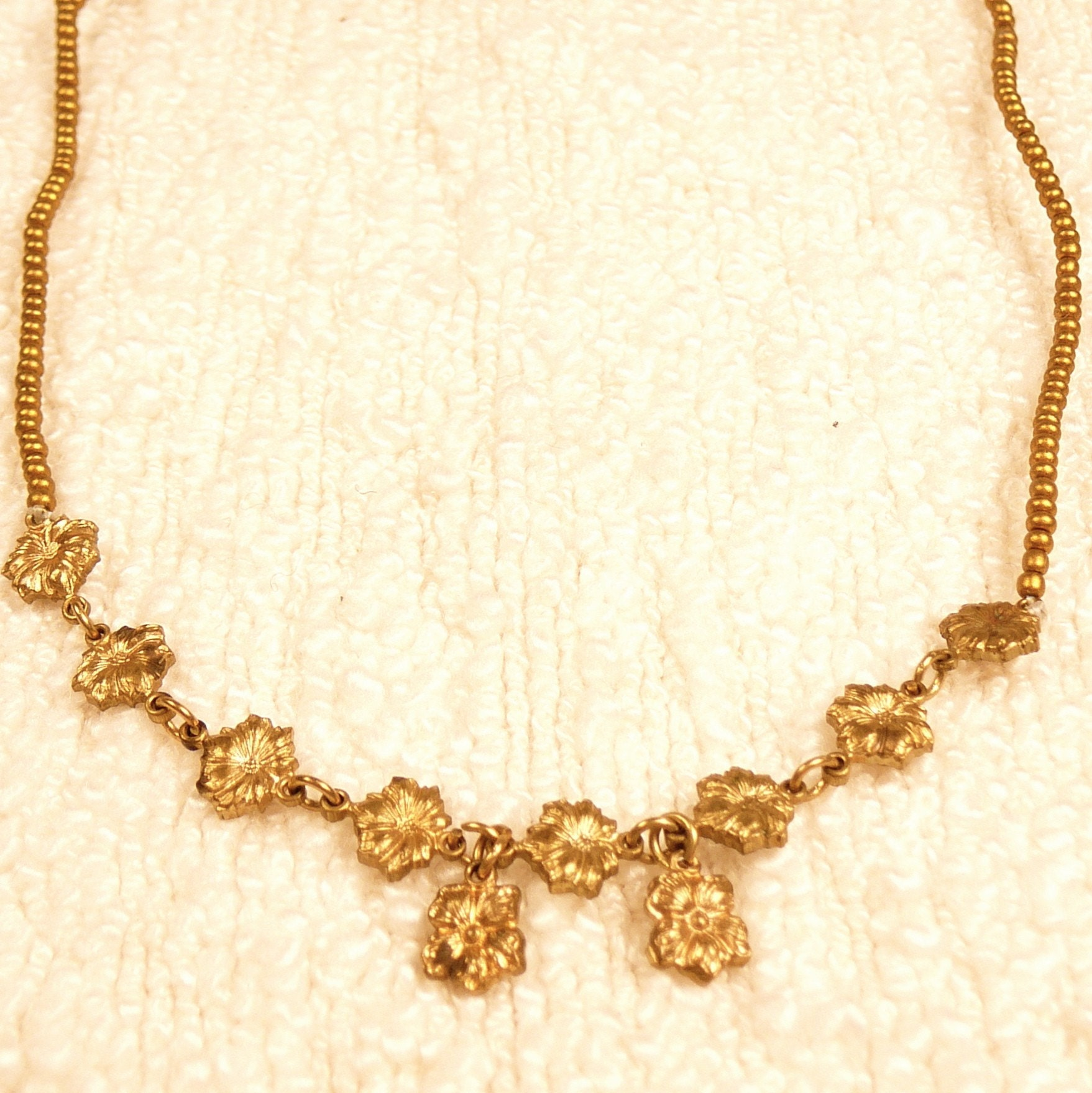 Etsy :: JonesyAndCrane :: Golden Rowsies of Posies Vintage Gold Necklace - One of a Kind