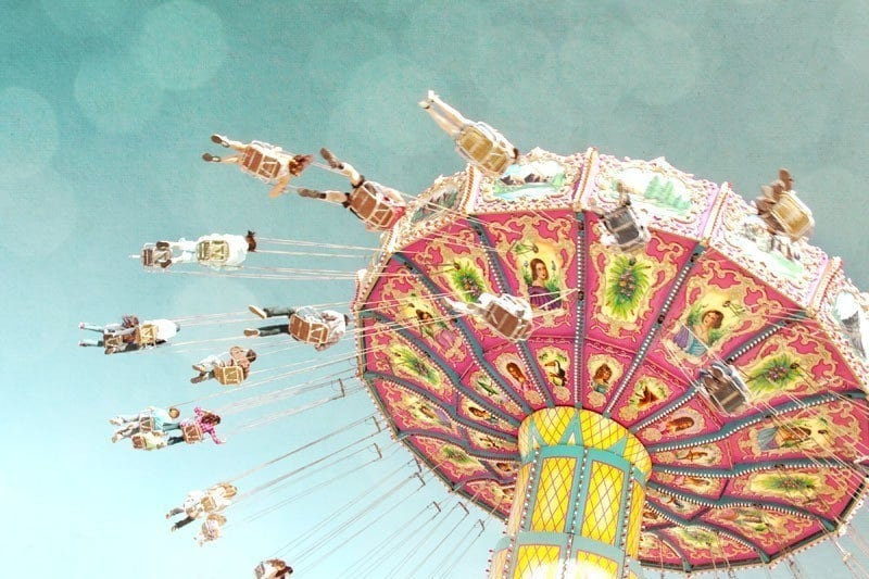 Swing Ride  vintage inspired carnival fairground county fair ride pastel colors nursery decor fine art photography print - 8x12