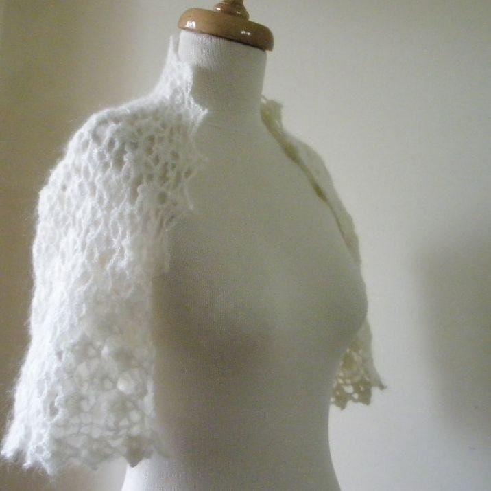 Romantic Ivory Shrug Bridal Mohair - Crochet Wedding Bolero Jacket EXPRESS DELIVERY