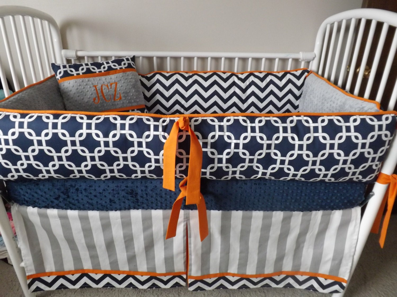 Navy chevron and gray and orange baby bedding crib by - Navy blue and orange bedding ...