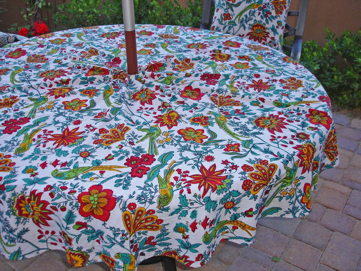 Umbrella Outdoor Tablecloth Red Floral by KaysGeneralStore