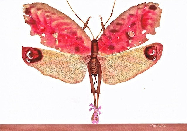 "Bug Art - Greeting Card (5"" x 7"") - Pink Ballerina Bug  - BugArtAlley, by Mattie O. - BugArtAlley"