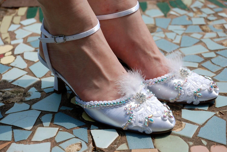 """Hand Embellished Bridal shoes... Swarovski crystal embellished 2.25"""" heels .....Juliet"""