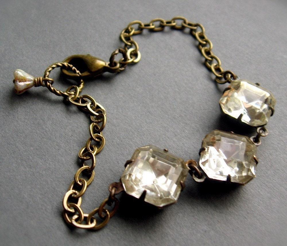 Estate Bracelet, Audrey, Vintage Rhinestones Retro Glam