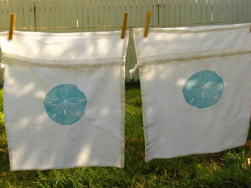 Drawstring Bag- Teal Sand Dollar