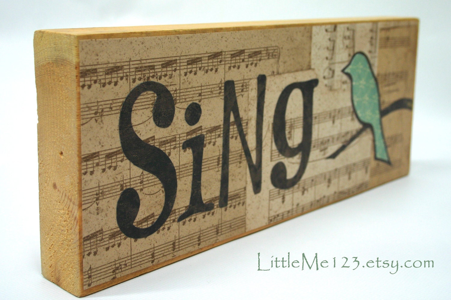 BlockHead Design - Sing Bird Wood Block - Hand Cut Letters - on Etsy - LettersOfLoveDesigns