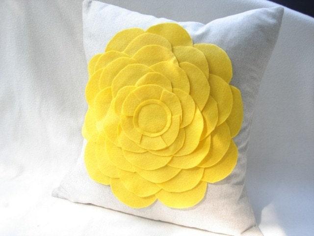 Yellow Felt Oversize Zinnia pillow Cover Sofa Pillow Cushion Cover 16X16