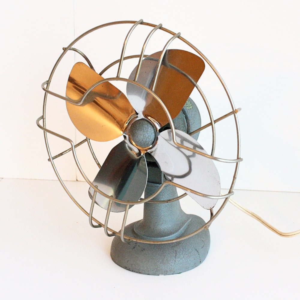 Small Aluminum Fan Blades : Vintage electric fan electren metal blade art by oldcottonwood