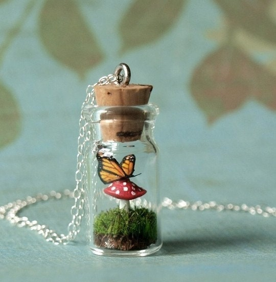 Tiny Woodland Terrarium Mushroom and Monarch Butterfly Necklace
