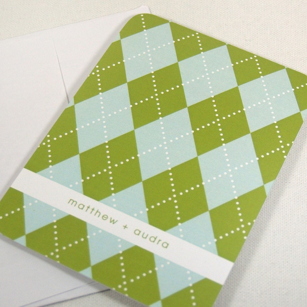 personalized note cards stationery set -preppy argyle pattern (8) CHOOSE colors