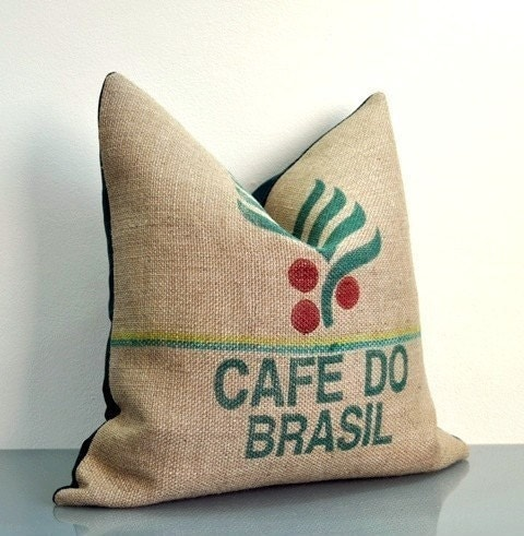 Cafe Do Brasil -  Velvet and Burlap Coffee Sack Cushion