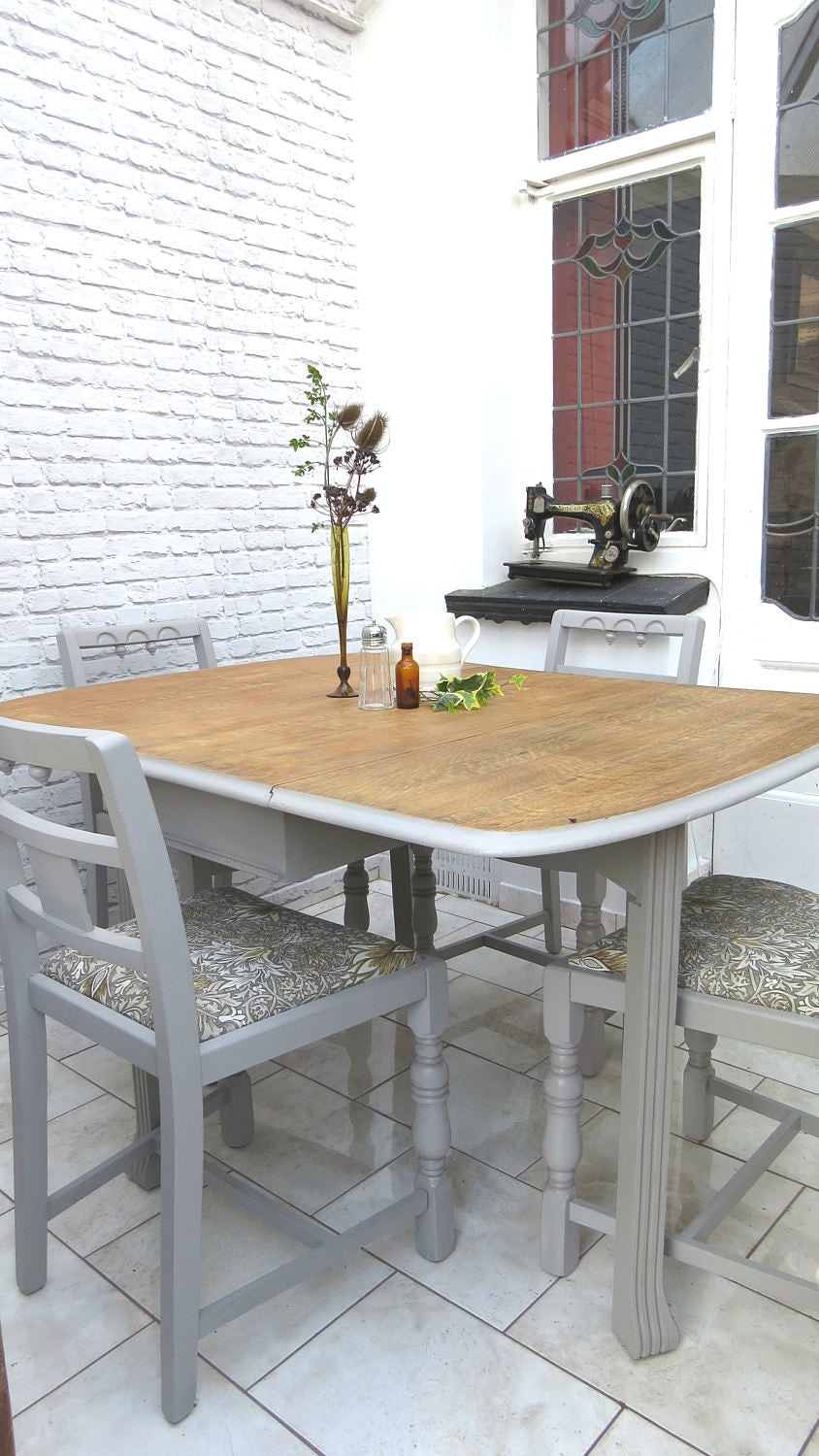 Vintage Dining Table and Chairs Set Grey William Morris