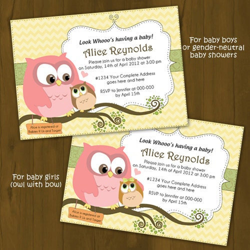 owl baby shower invitation mother owl and baby owl baby shower