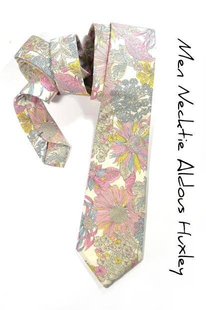 Wedding Mens Necktie Aldous Huxley-  Pink, yellow and grey flowers tie - speaklouder