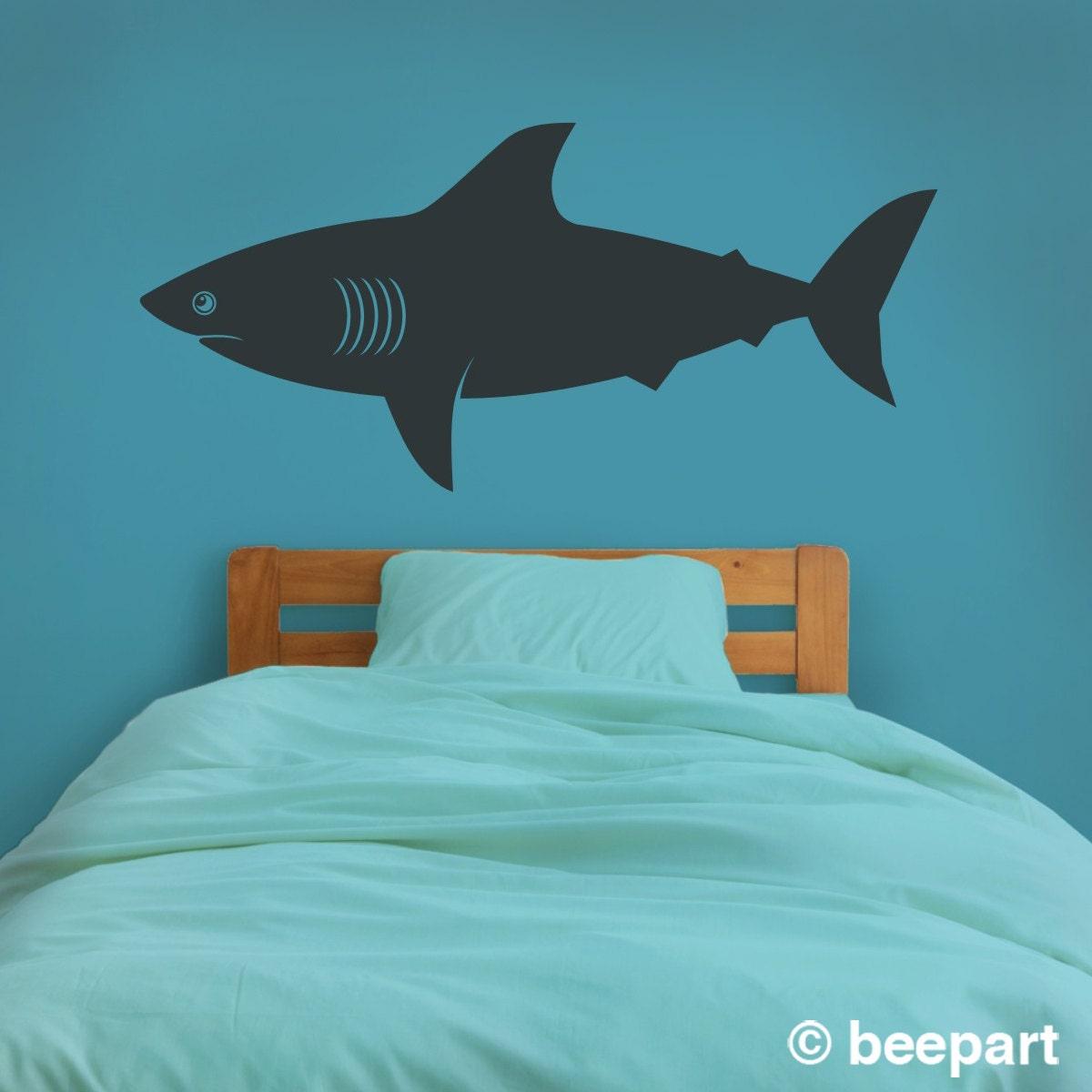 shark wall decal shark vinyl sticker art undersea by beepart. Black Bedroom Furniture Sets. Home Design Ideas
