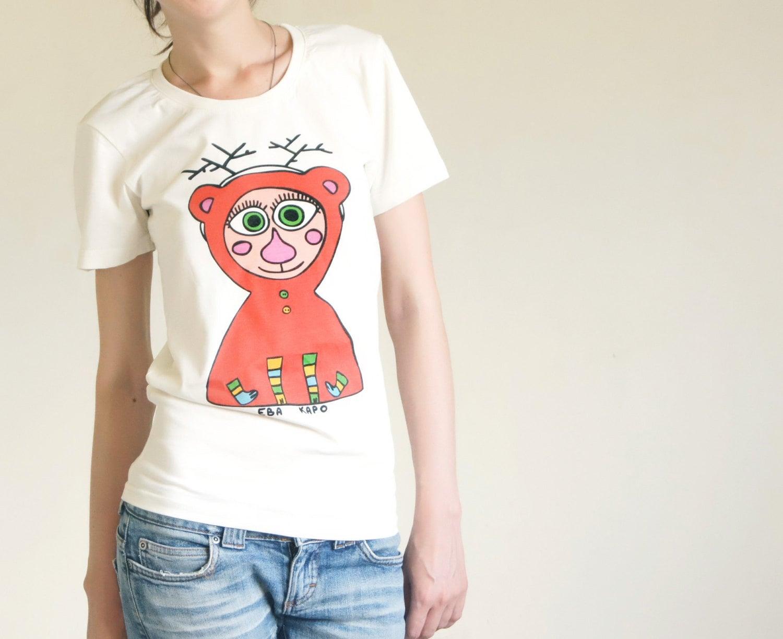 """Tshirt """"My Deer Bear"""", Bear Tshirt, Unisex Tshirt, Tshirt With Print, Red Bear Tshirt - KaroEva"""