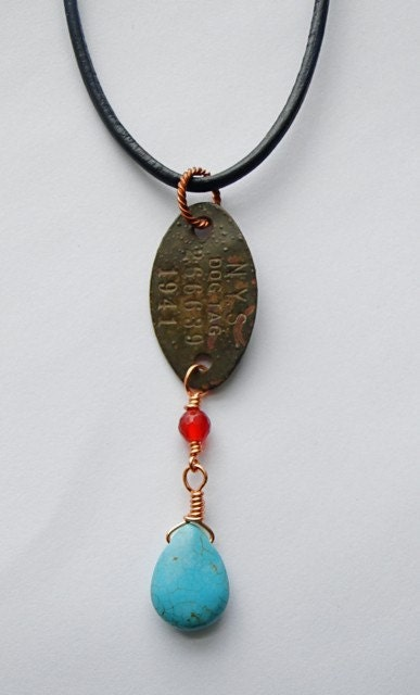 Vintage 1941 Dog tag NYS necklace pendant by SeasideStudio on Etsy