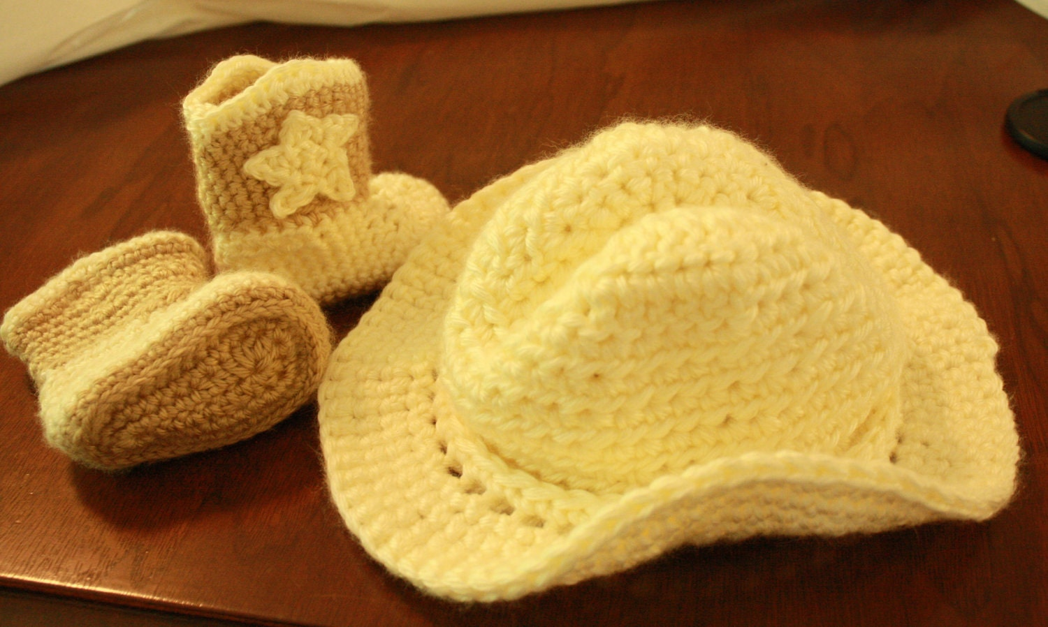 Baby cowboy hat and boot set, photo prop