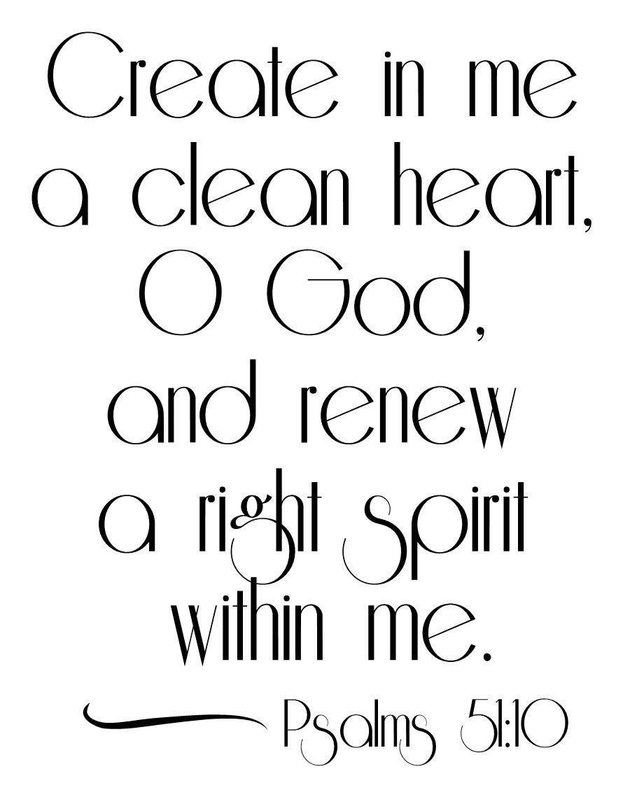 Psalms 51:10 wall decal 17.5 x 23""