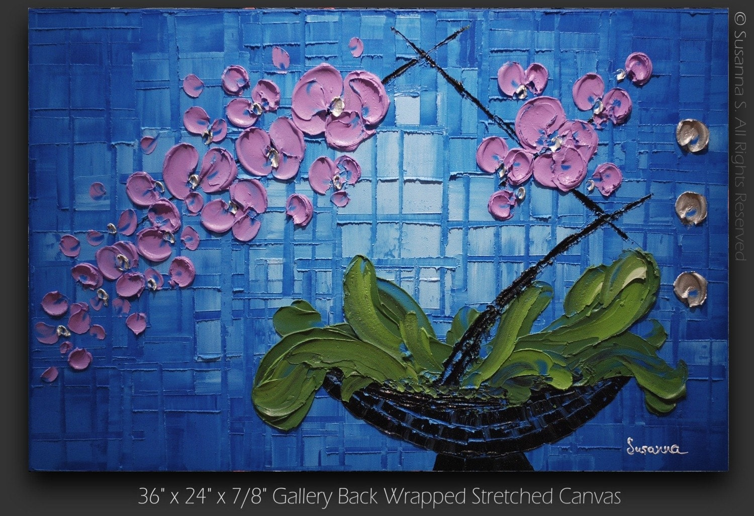 ORIGINAL Contemporary Purple Orchid Palette Knife Oil Abstract Painting