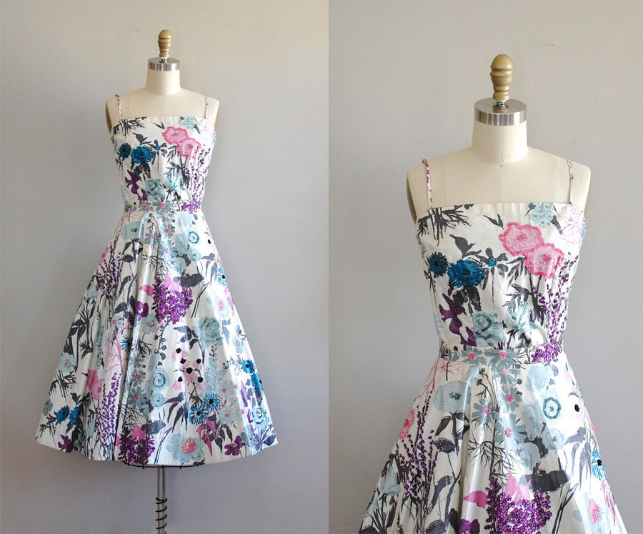 vintage 50s dress / floral 1950s dress / Roman by DearGolden