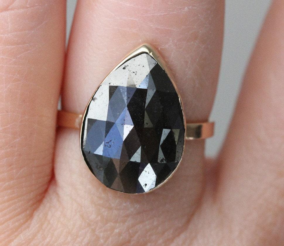 Pear Shape Rose Cut Black Diamond In 14K Gold