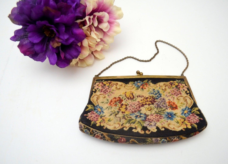 Exquisite Antique Petit Point Purse Austrian Vintage Needlepoint Tapestry Handbag Includes Mirror circa 1930s $84.00 AT vintagedancer.com