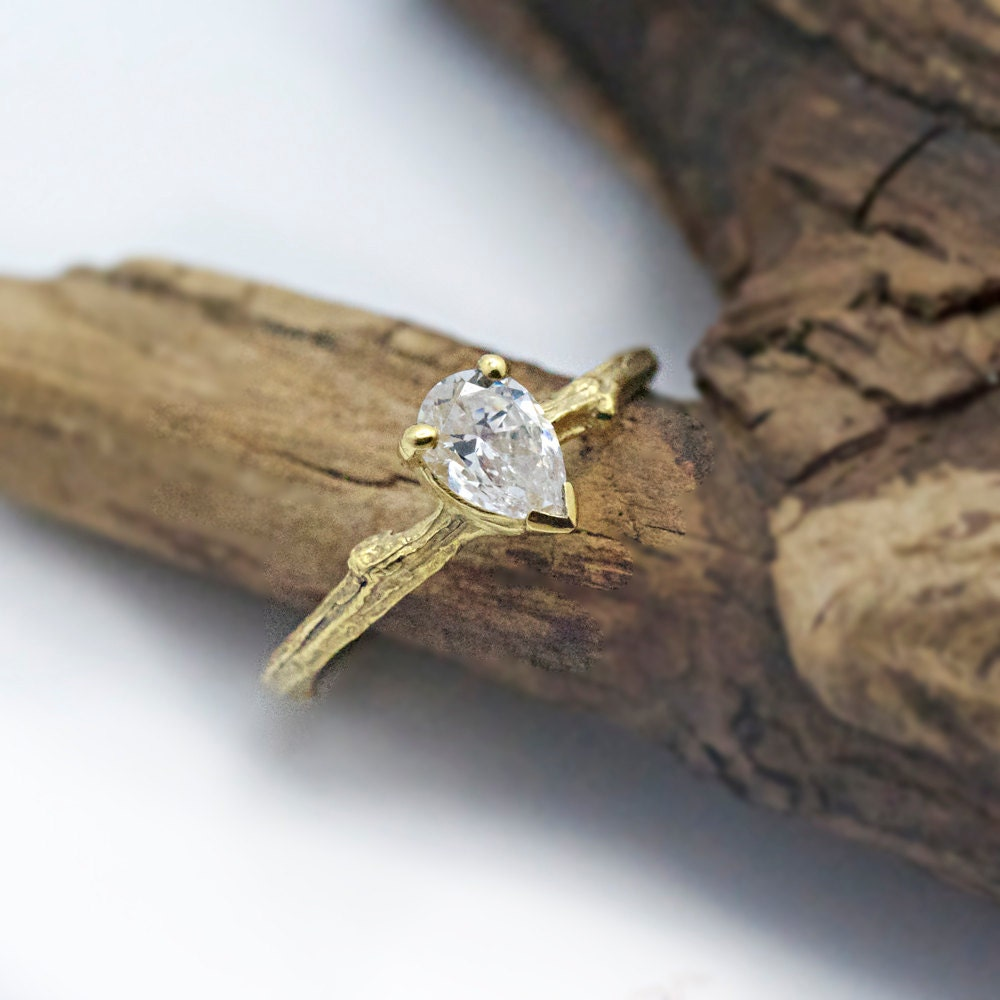 pear moissanite twig engagement ring 14k yellow by. Black Bedroom Furniture Sets. Home Design Ideas