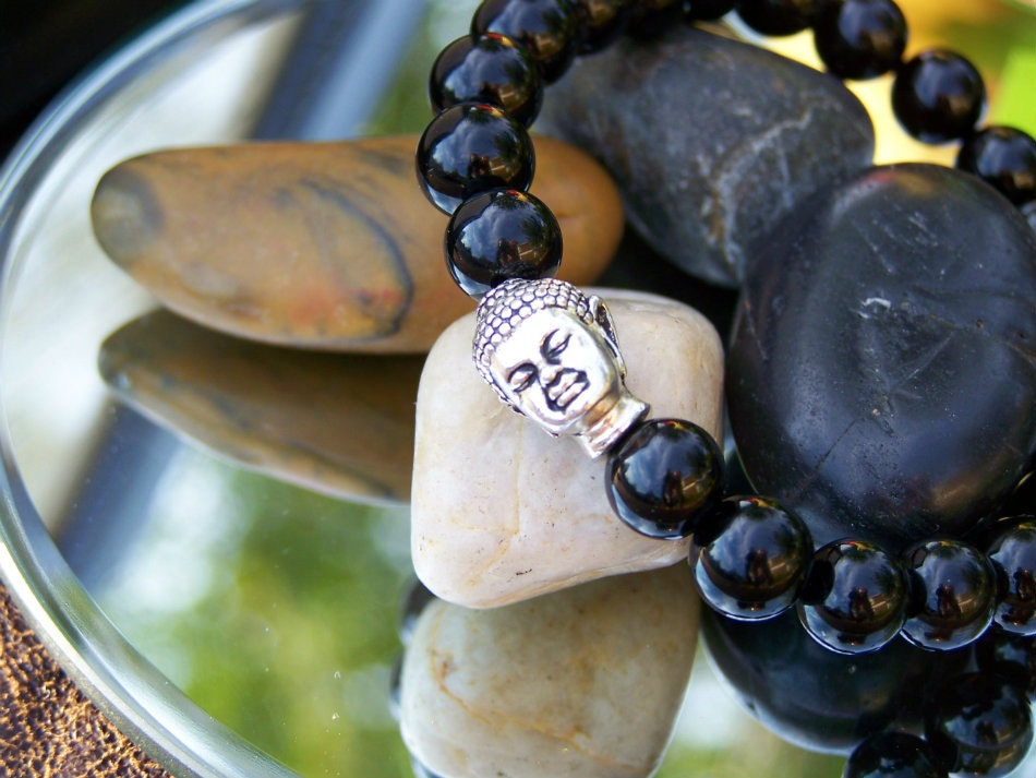 Buddha Bracelet, Black Onyx Stretch Bracelet, Free Shipping