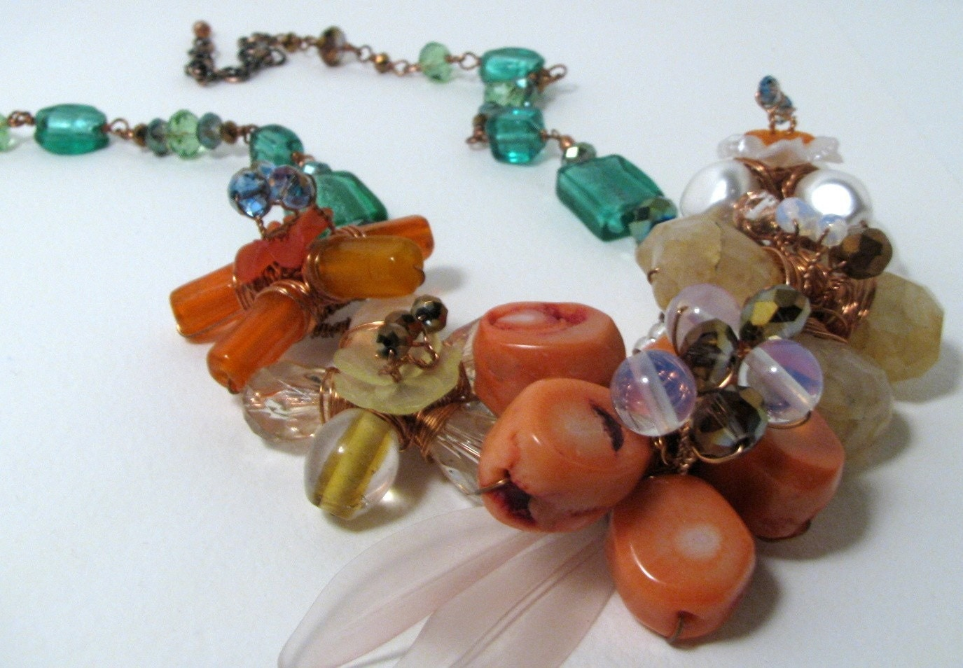 Spring to Life Wire Wrapped 5 Flowers Necklaces/Earrings Set (Coral, chalcedony, peach, orange, green)