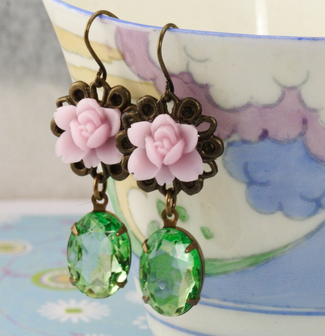 Sweet Pink Flower and Vintage Jewel Earrings
