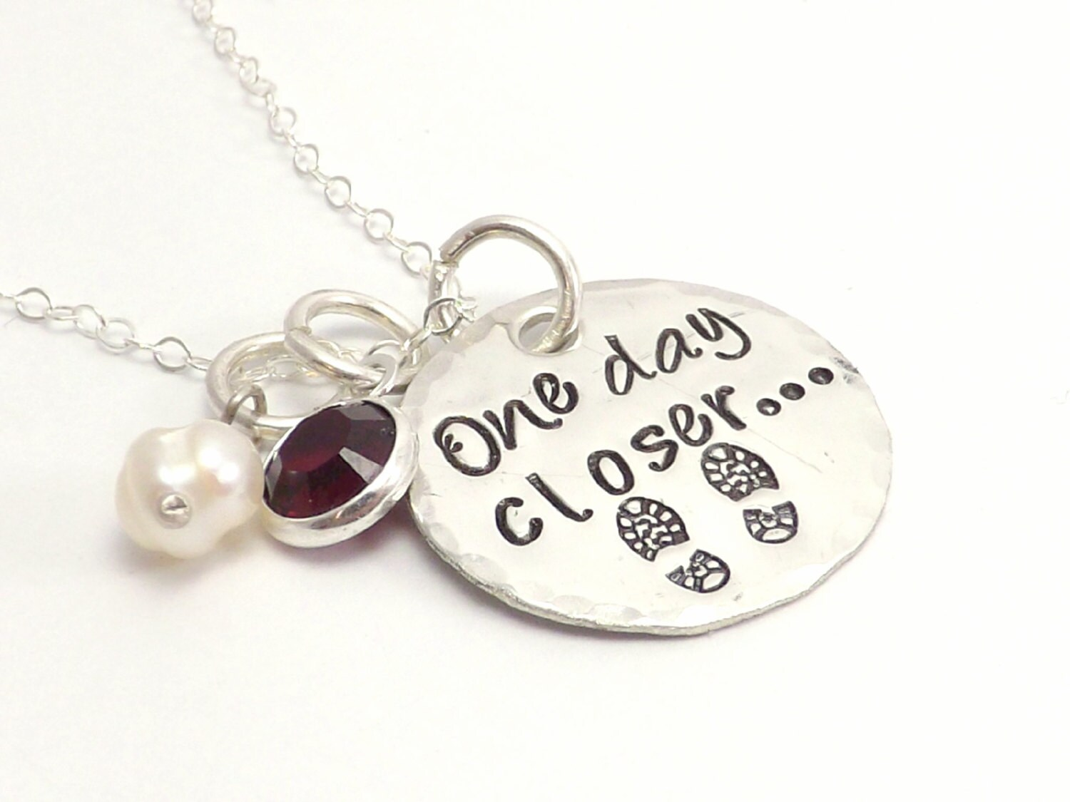 One Day Closer.. Hand Stamped Sterling Silver Necklace, Military Wife, Army Wife, Deployment Jewelry - MissAshleyJewelry